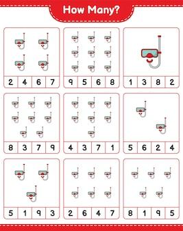 Zählspiel, wie viele tauchmasken. lernspiel für kinder, arbeitsblatt zum ausdrucken