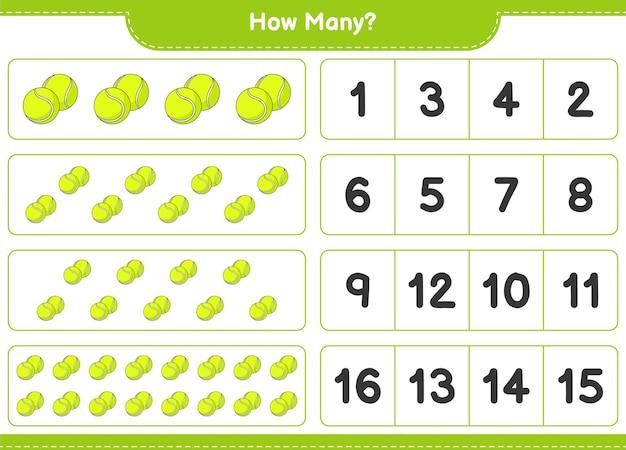 Zählspiel, wie viele tennisbälle. pädagogisches kinderspiel, druckbares arbeitsblatt, vektorillustration