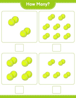 Zählspiel, wie viele tennisball pädagogisches kinderspiel druckbares arbeitsblatt