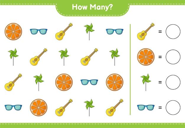 Zählspiel, wie viele ukulele, windräder, ukulele und orange. lernspiel für kinder, arbeitsblatt zum ausdrucken