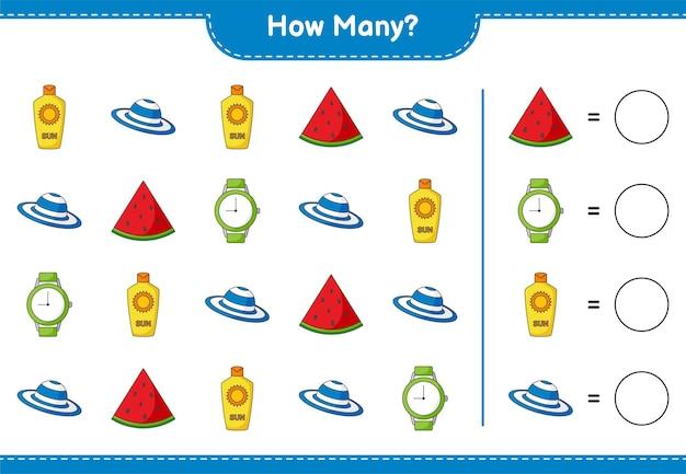 Zählspiel, wie viele wassermelone, sonnencreme, uhren und sommermütze. lernspiel für kinder, arbeitsblatt zum ausdrucken