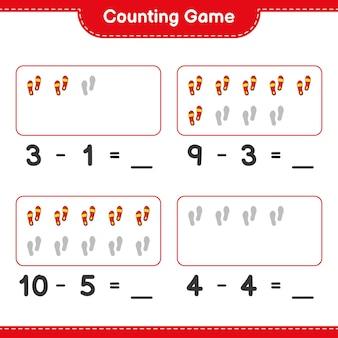 Zählspiel zähle die anzahl der flip flops und schreibe das ergebnis lernspiel für kinder