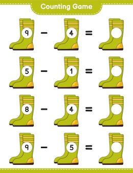 Zählspiel, zähle die anzahl der gummistiefel und schreibe das ergebnis auf. lernspiel für kinder, arbeitsblatt zum ausdrucken