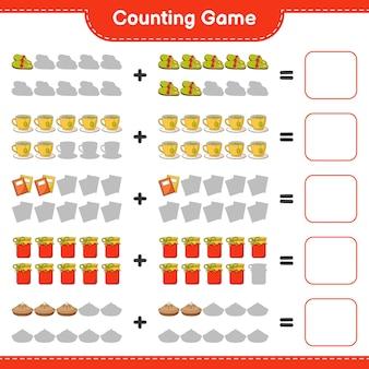 Zählspiel, zähle die anzahl der hausschuhe, teetasse, buch, marmelade, kuchen und schreibe das ergebnis auf. lernspiel für kinder, arbeitsblatt zum ausdrucken