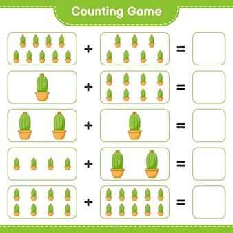 Zählspiel zähle die anzahl der kakteen und schreibe das ergebnis lernspiel für kinder