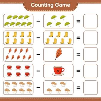 Zählspiel, zähle die anzahl der regenschirme, gummistiefel, eichenblätter, kaffeetassen, steinpilze und schreibe das ergebnis auf. lernspiel für kinder, arbeitsblatt zum ausdrucken