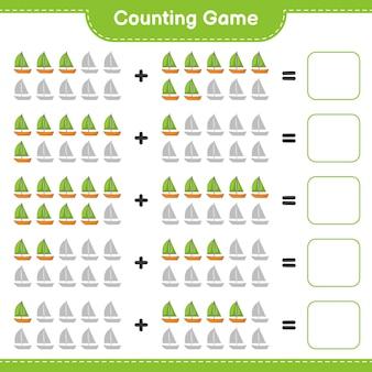 Zählspiel zähle die anzahl der segelboote und schreibe das ergebnis lernspiel für kinder