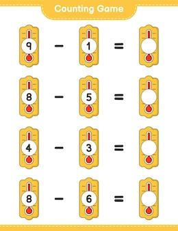 Zählspiel, zähle die anzahl der thermometer und schreibe das ergebnis. lernspiel für kinder, arbeitsblatt zum ausdrucken
