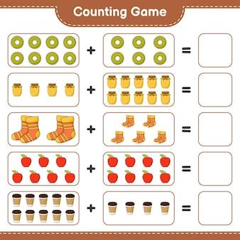 Zählspiel, zähle die anzahl von donut, marmelade, socken, apfel, teetasse und schreibe das ergebnis. lernspiel für kinder, arbeitsblatt zum ausdrucken