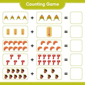 Zählspiel, zähle die anzahl von mütze, thermometer, croissant, schal, eichel und schreibe das ergebnis. lernspiel für kinder, arbeitsblatt zum ausdrucken