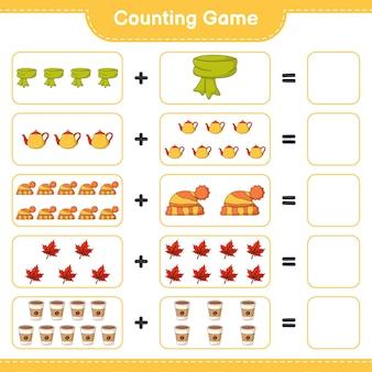 Zählspiel, zähle die anzahl von schal, teekanne, mütze, ahornblatt, kaffeetasse und schreibe das ergebnis. lernspiel für kinder, arbeitsblatt zum ausdrucken