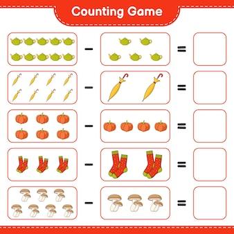 Zählspiel, zähle die anzahl von teekanne, regenschirm, kürbis, socken, shiitake und schreibe das ergebnis auf. lernspiel für kinder, arbeitsblatt zum ausdrucken