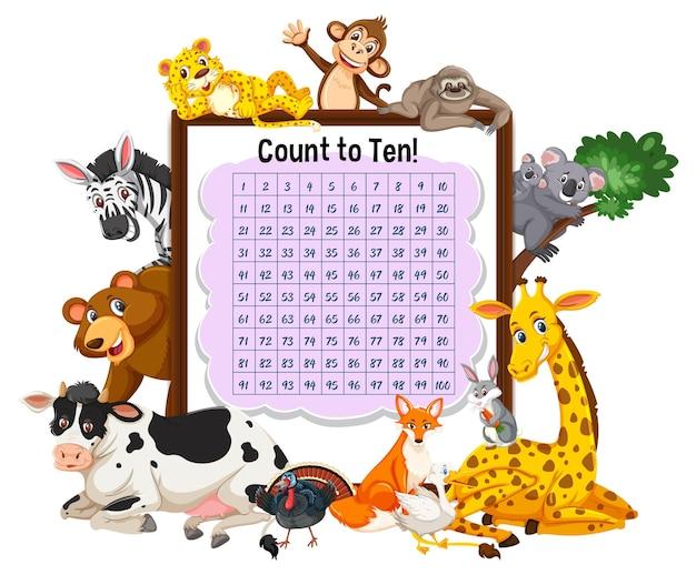 Zähltafel 1-100 mit wilden tieren