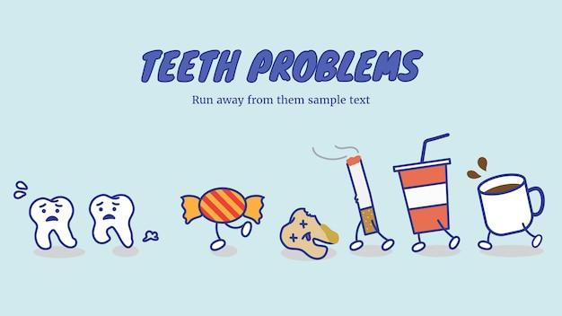 Zähne laufen weg von schlechtem essen und trinken