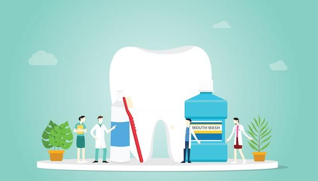 Zähne oder zahnpflege gesund mit teamarzt und großen zähnen und einigen werkzeugen zum reinigen