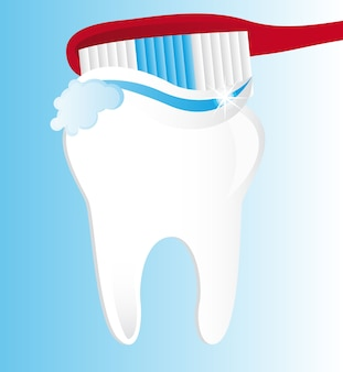 Zähne putzen über blauem hintergrund vektor-illustration
