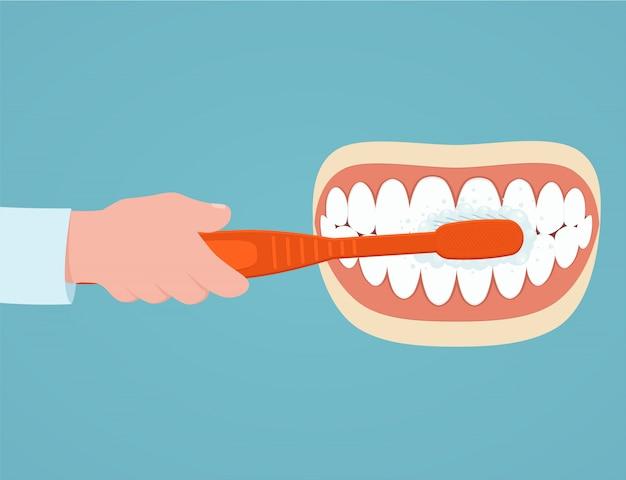 Zähne putzen.