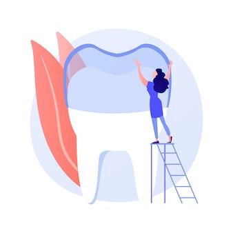 Zähne tragen silikontrainer abstrakte konzeptvektorillustration. unsichtbare kieferorthopädische zahnspangen, silikonzahnabnutzung, zahntraining, zahnpflege, abstrakte metapher der überfüllten zahnbehandlungsmethode.