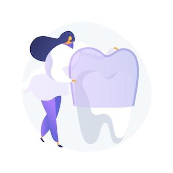 Zähne tragen silikontrainer abstrakte konzeptvektorillustration. unsichtbare kieferorthopädische zahnspangen, verschleiß der silikonzähne, zahnärztliche ausbildung, zahnpflege, abstrakte metapher der überfüllten zahnbehandlungsmethode.