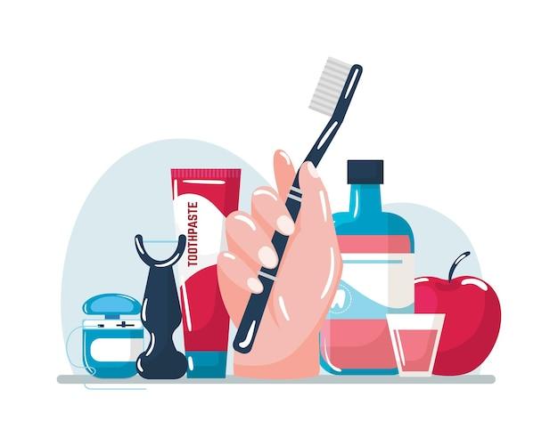 Zähneputzen mit zahnbürste, vektorillustration. zahnhygiene, mundpflege mit zahnpasta, cartoon-zahnseide und mundwasser sauber. hand halten spezielle ausrüstung für den mundgesundheitsschutz, apfel.