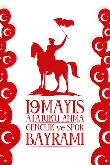 Zafer bayrami-festkarte mit soldat im pferd
