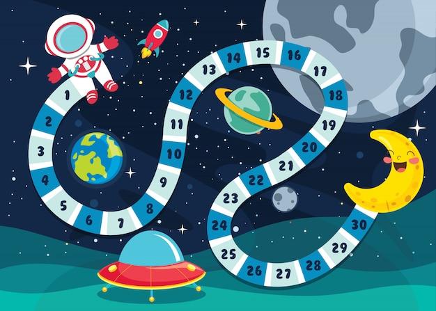 Zahl-brettspiel-illustration für kinderbildung
