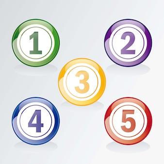 Zahl-ikonen-bingo- oder -lotteriekugeln lokalisiert über grau