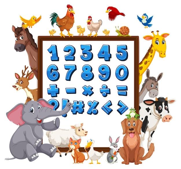 Zahlen 0 bis 9 und mathematische symbole auf banner mit wilden tieren