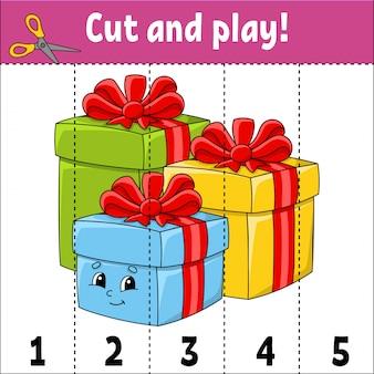 Zahlen 1-5 lernen. schneiden und spielen. weihnachtsgeschenke. arbeitsblatt bildung. spiel für kinder.