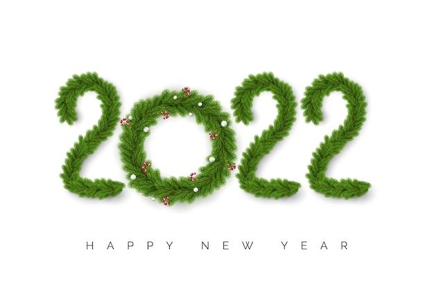 Zahlen 2022 weihnachtsbaumzweige isoliert auf weiß