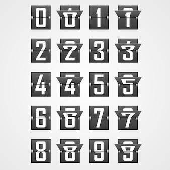 Zahlen aus dem alphabet der mechanischen anzeigetafel. vektor-illustration