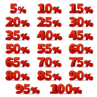 Zahlen der vektoren des rabattes 3d eingestellt