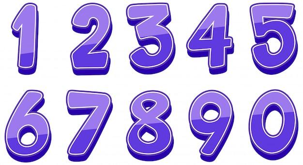 Zahlen eins bis null auf weiß