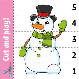 Zahlen lernen. schneiden und spielen. arbeitsblatt zur bildungsentwicklung. spiel für kinder.