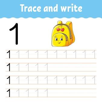 Zahlen lernen. verfolgen und schreiben. zurück zur schule. handschriftpraxis. zahlen für kinder lernen.