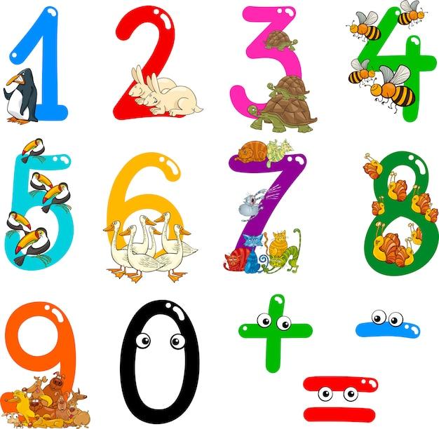 Zahlen mit comic-tieren