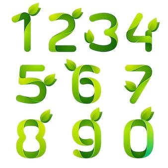 Zahlen mit grünen blättern gesetzt.