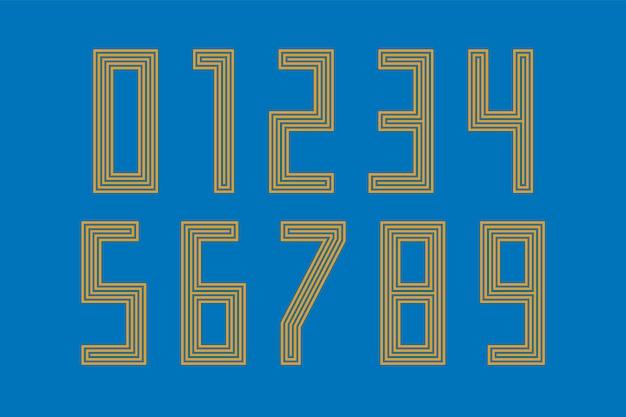 Zahlen schriftart. sportschrift mit zahlen und zahlen. geometrische regelmäßige fette umrisszahlen. starke industrielle inline-sportschrift für design, kreative typografie. vektorillustration