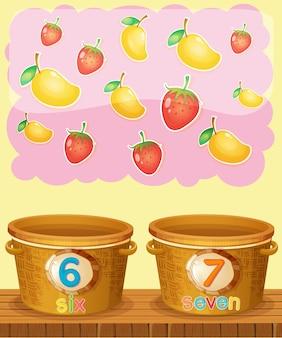 Zahlen sechs und sieben zählen