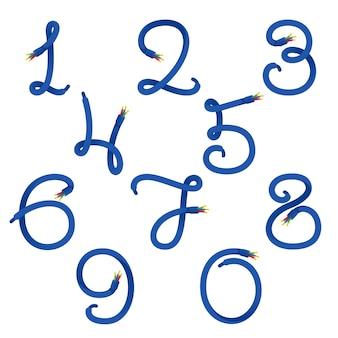 Zahlen setzen logos, die durch ein elektrokabel gebildet werden.