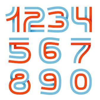 Zahlen setzen logos, die durch parallele linien gebildet werden. es kann für eine sportmannschaftsidentität verwendet werden. es kann sich auch um eine rot-weiß-blaue farbbandfahne handeln.