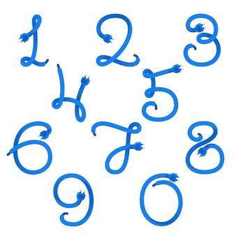 Zahlen setzen logos, die durch steckerkabel gebildet werden.