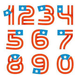 Zahlen setzen logos mit amerikanischen sternen und streifen. vektordesign für banner, präsentation, webseite, karte, etiketten oder poster.