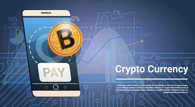 Zahlen sie knopf auf intelligentem telefon-goldener bitcoin-ikonen-digital-krypto-währungs-modernem netz-geld-konzept