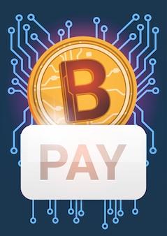 Zahlen sie knopf über goldener bitcoin-ikonen-digital-krypto-währungs-modernen netz-geld-konzept