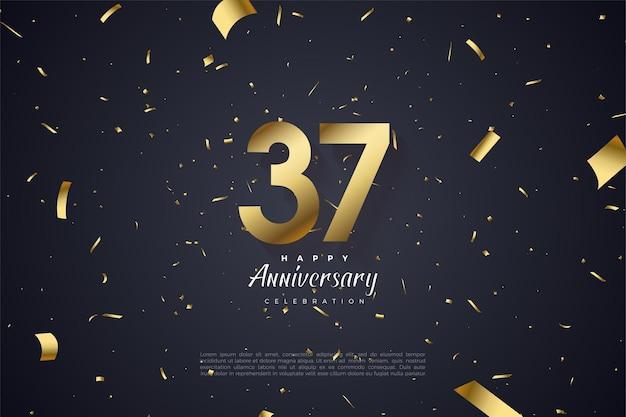 Zahlen und goldpapier zur feier des 37. jahrestages
