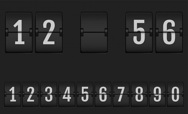 Zahlen vom mechanischen anzeigetafel-alphabet.
