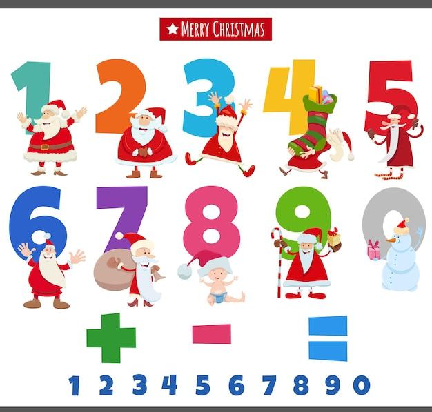 Zahlen von eins bis neun mit weihnachtlichen zeichentrickfiguren