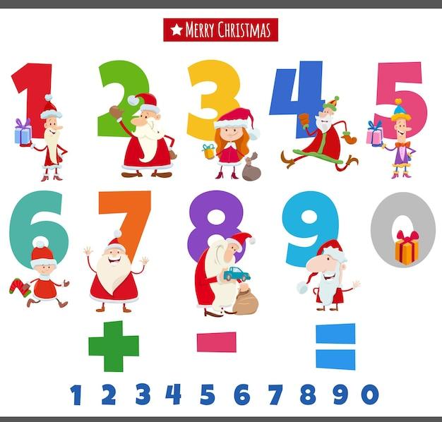 Zahlen von eins bis neun mit weihnachtsfeiertagszeichen