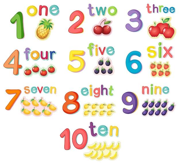 Zahlen zählen mit früchten
